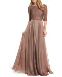 La Femme - Embellished Bodice Gown - Lyst