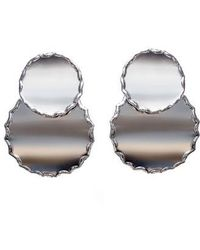 SHOSHANNA LEE - Round Raw Edge Statement Earrings - Lyst