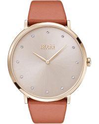 BOSS - Jillian Ultra Slim Leather Strap Watch - Lyst