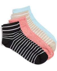 Hue - 4-pack Ankle Socks, Coral - Lyst