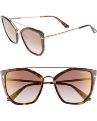 4fd2899eca80 Tom Ford Rhi Opentemple Oversized Sunglasses in Brown - Lyst