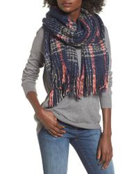 Sole Society - Speckled Check Blanket Scarf - Lyst