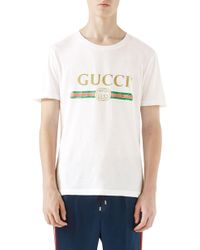 c3b18b000e5 Gucci - Washed T-shirt With Print - Lyst