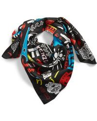 KENZO - Tiger Poster Silk Square Scarf - Lyst