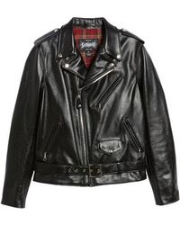Schott Nyc - Waxy Cowhide Leather Motorcycle Jacket - Lyst