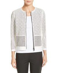 Lafayette 148 New York | Emma Laser Cut Leather Jacket | Lyst