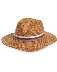Sole Society - Stripe Band Raffia Panama Hat - - Lyst