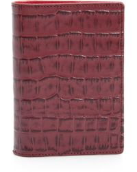 Nordstrom - Croc Embossed Leather Passport Holder - Burgundy - Lyst