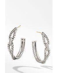 David Yurman - Cable Loop Diamond And Sterling Silver Hoop Earrings - Lyst
