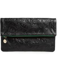 Clare V. - Flower Embossed Foldover Leather Clutch - Lyst