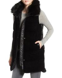 Sam Edelman - Velvet Front Vest With Faux Fur Collar - Lyst