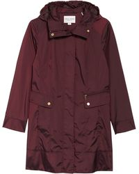 Cole Haan - Back Bow Packable Hooded Raincoat, Purple - Lyst