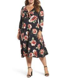 Soprano - Plunging Floral Midi Dress - Lyst