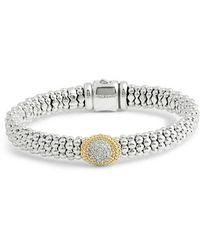 Lagos - Diamond And Caviar Oval Station Bracelet - Lyst