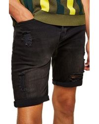 TOPMAN - Finch Skinny Fit Ripped Shorts - Lyst