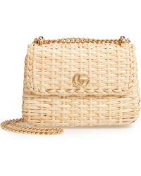 Gucci - Linea Cestino Glazed Wicker Mini Shoulder Bag - - Lyst