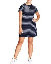 City Chic - Stripe T-shirt Dress - Lyst