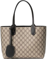 0eefb223c200 Lyst - Gucci Medium Turnaround Reversible Leather Tote in Natural