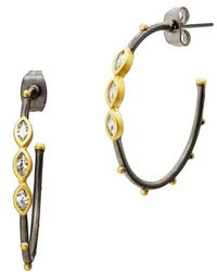Freida Rothman | Marquise Station Hoop Earrings | Lyst