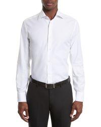Canali - Trim Fit Solid Dress Shirt - Lyst
