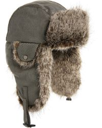 Crown Cap - Waxed Cotton Aviator Hat With Faux Fur Lining - - Lyst
