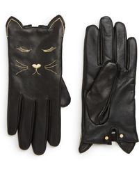 Ted Baker - Cat Detail Leather Gloves - Lyst