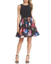 Xscape - Floral Print Fit & Flare Dress - Lyst