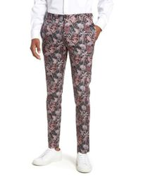 TOPMAN - Ultra Skinny Fit Hibiscus Print Suit Trousers - Lyst