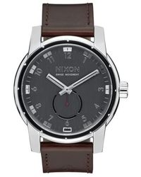 Nixon - 'the Patriot' Leather Strap Watch - Lyst
