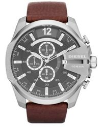 DIESEL - Diesel 'mega Chief' Leather Strap Watch - Lyst