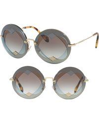 57b1a287a24 Miu Miu - 62mm Layered Heart Round Sunglasses - Lite Blue Gradient - Lyst