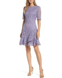 Vince Camuto - Asymmetrical Ruffle Lace Fit & Flare Dress - Lyst