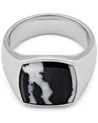Tom Wood - Men's Zebra Marble Cushion Signet Ring - Lyst