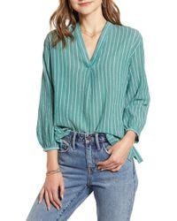 Treasure & Bond Stripe Popover Shirt - Green