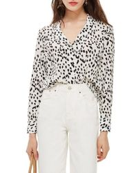 TOPSHOP - Animal Print Pajama Shirt - Lyst