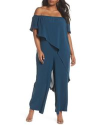 Adrianna Papell - Gauzy Off The Shoulder Crepe Jumpsuit - Lyst