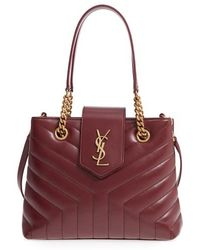 Saint Laurent - Small Loulou Matelasse Calfskin Leather Shopping Tote -  Burgundy - Lyst 9d2329f736