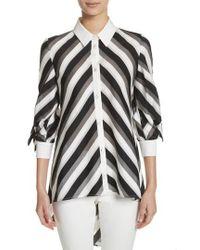 Lela Rose | Stripe Bow Sleeve Shirt | Lyst