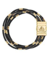 Lagos - Gold & Black Caviar Bead Bracelet - Lyst