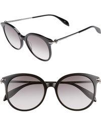 38745603ff314 Alexander McQueen - 54mm Gradient Lens Round Sunglasses - Dark Ruthenium   Black - Lyst