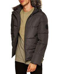 TOPMAN - Marling Faux Fur Collar Puffer Jacket - Lyst