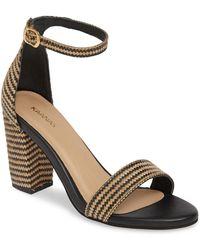 79eac034e11297 Lyst - Sam Edelman Olisa Woven Raffia Ankle Strap Block Heel Dress ...