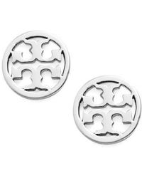 Tory Burch - Circle Logo Stud Earrings - Lyst