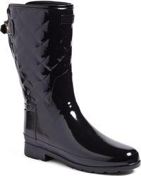 HUNTER - Refined High Gloss Quilted Short Waterproof Rain Boot - Lyst