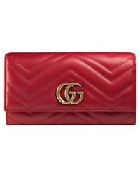 Gucci - Gg Marmont Matelasse Leather Continental Wallet - Lyst