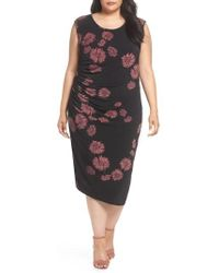 Vince Camuto - Chateau Floral Side Ruched Body-con Dress - Lyst