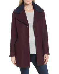 Laundry by Shelli Segal | Contrast Collar Boucle Coat | Lyst