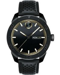 Movado - Bold Metals Sport Leather Strap Watch - Lyst