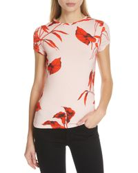 073210576004d5 Lyst - Ted Baker Kushine Floral V-neck Tee in Pink