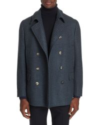 Boglioli - Trim Fit Double Breasted Houndstooth Wool Coat - Lyst